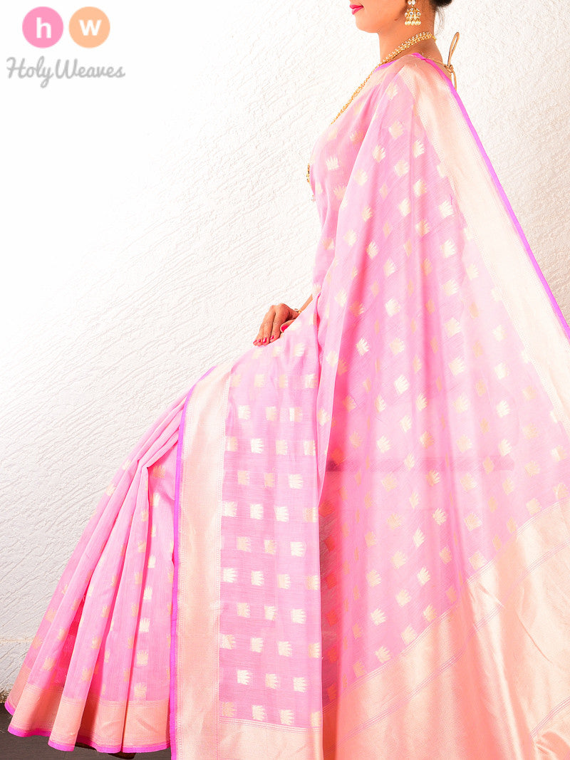 Pink Cotton Silk Cutwork Brocade Kamal Buti Handwoven Saree - HolyWeaves