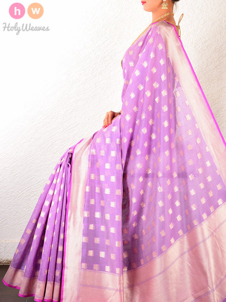 Purple Cotton Silk Cutwork Brocade Kamal Buti Handwoven Saree