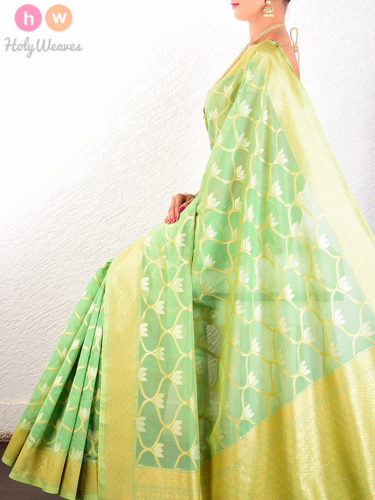 Green Cotton Silk Cutwork Brocade Handwoven Saree