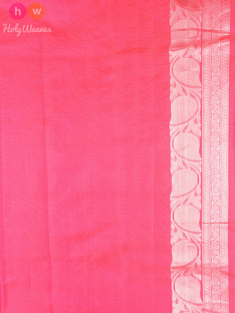 Pink Kora (कोरा) Silk Cutwork Brocade Handwoven Saree - HolyWeaves