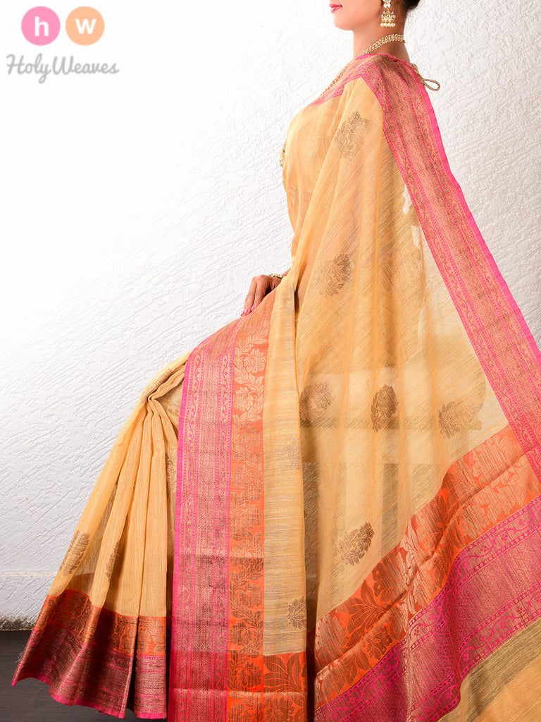 Beige Cotton Silk Cutwork Brocade Woven Saree - HolyWeaves