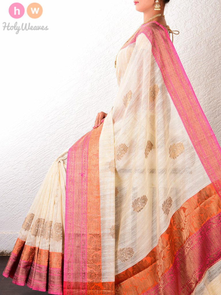 Cream Cotton Silk Cutwork Brocade Woven Saree - HolyWeaves