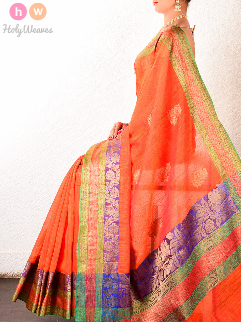 Orange Muga Cotton Banarasi Boota Cutwork Brocade Woven Saree - HolyWeaves