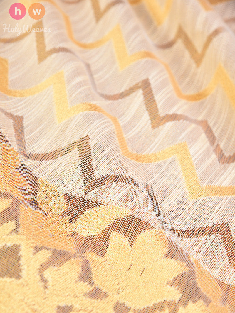 Cream Raw Silk Tissue Chevron Cutwork Brocade Handwoven Saree - HolyWeaves