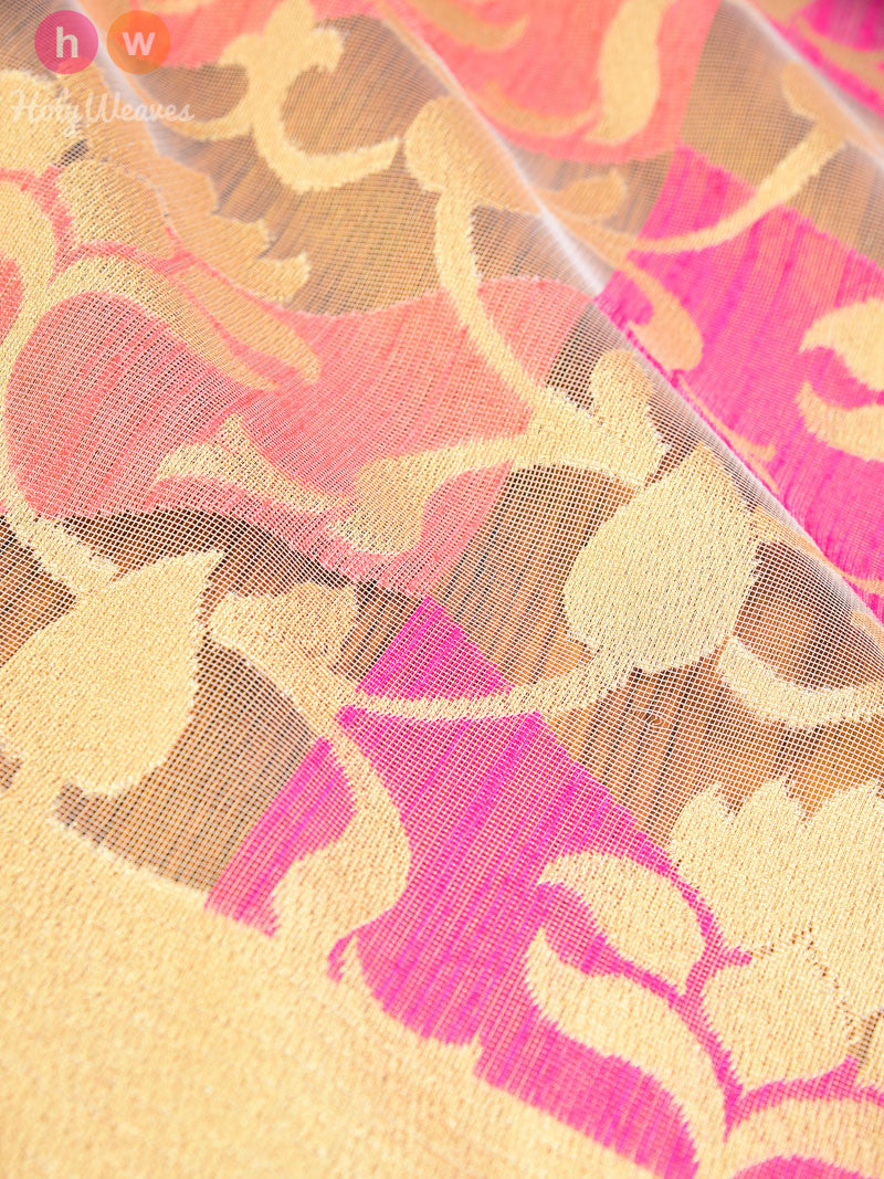 Pink-Peach Colored Blocks on Net Tissue Cutwork Brocade Handwoven Saree - HolyWeaves