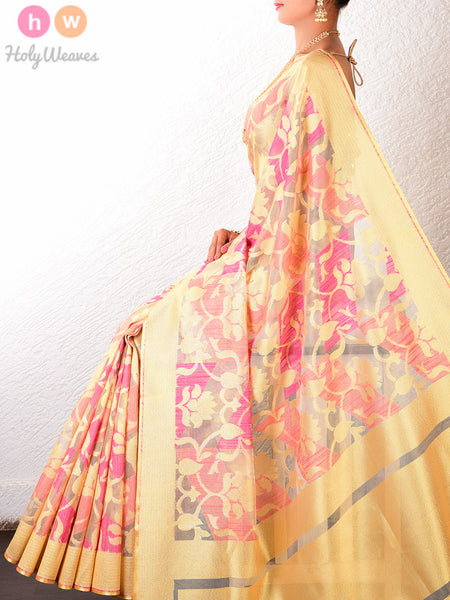 Pink Net Tissue Cutwork Brocade Handwoven Saree - HolyWeaves