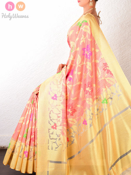 Peach Raw Silk Tissue Cutwork Brocade Handwoven Saree - HolyWeaves