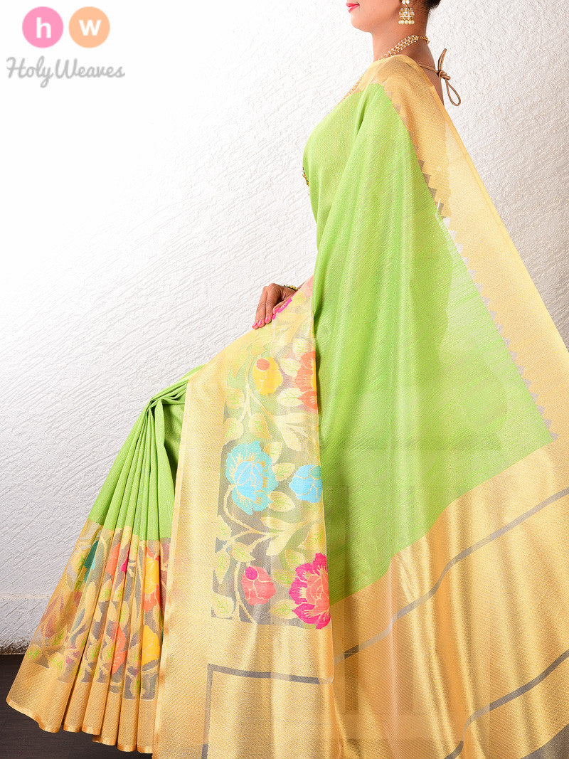 Green Raw Silk Tissue Tilfi Floral Skirting Cutwork Brocade Handwoven Saree - HolyWeaves