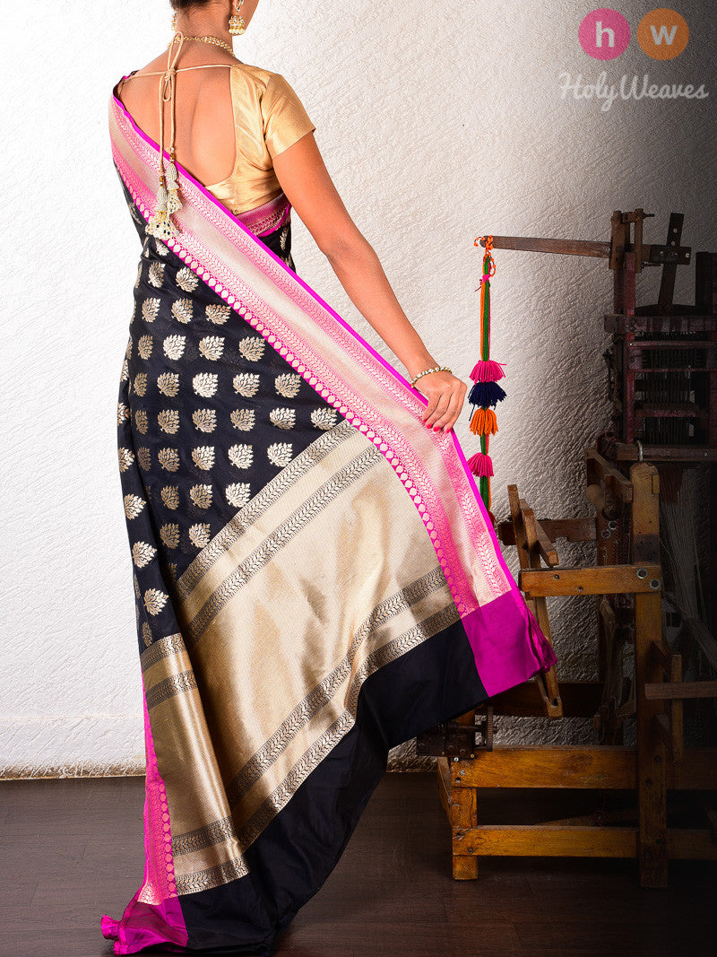 Black Silk Mughal Leaf Cutwork Brocade Handwoven Saree - HolyWeaves