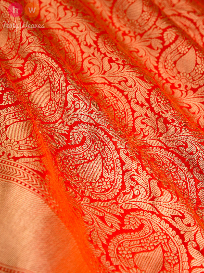 Red-Orange Silk Paisley Jaal Brocade Handwoven Banarasi Saree - HolyWeaves