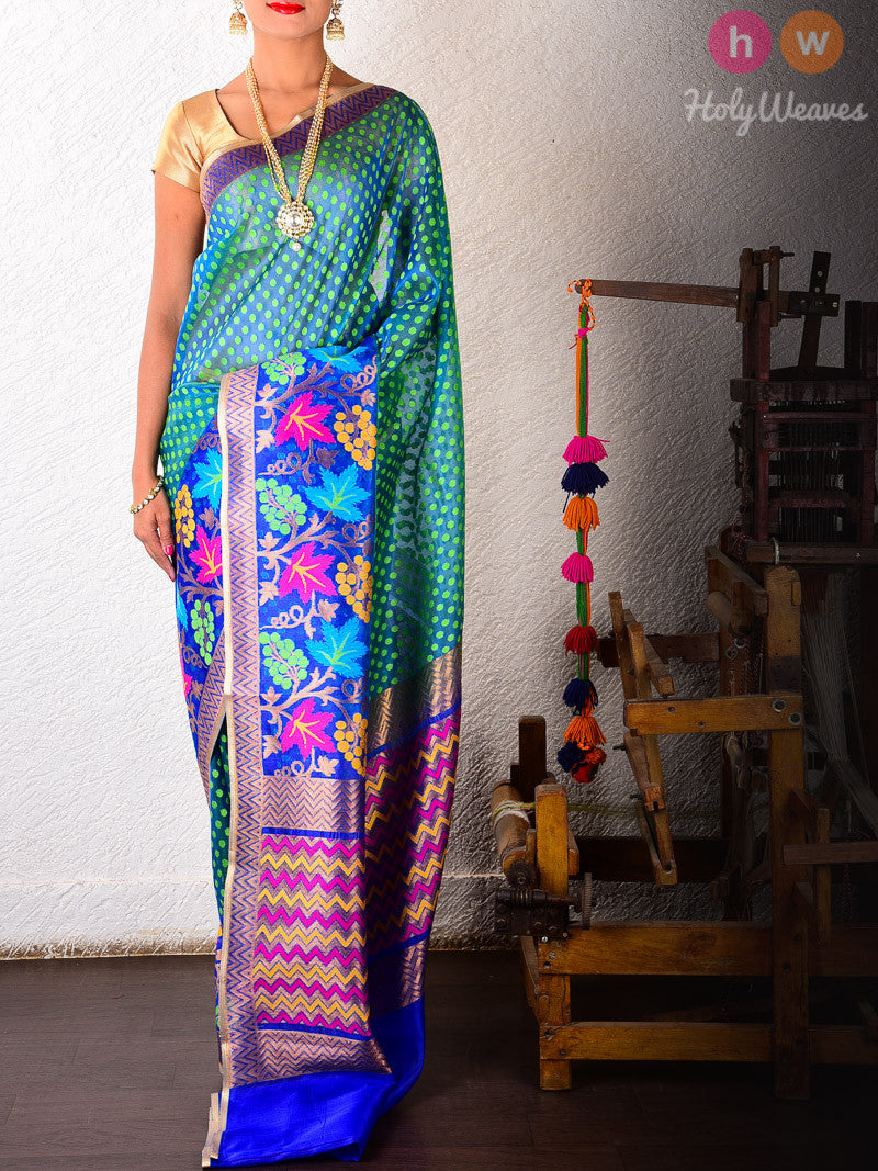 Green-Blue Kora (कोरा) Silk Cutwork Brocade Dhoop Chhanv Handwoven Saree - HolyWeaves