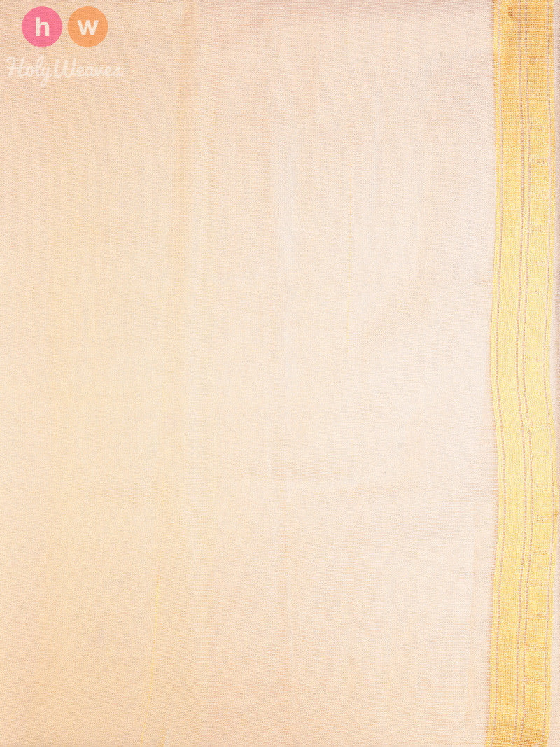 Beige Handloom Net Tissue Cutwork Brocade Woven Saree - HolyWeaves