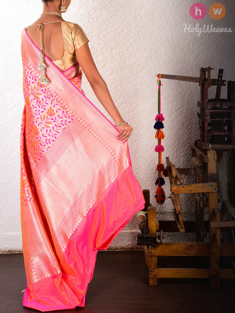 Pink-Orange Silk Cutwork Zari Brocade Handwoven Saree - HolyWeaves