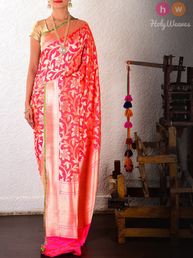 Pink Silk Cutwork Alfi Jangla Brocade Handwoven Saree - HolyWeaves