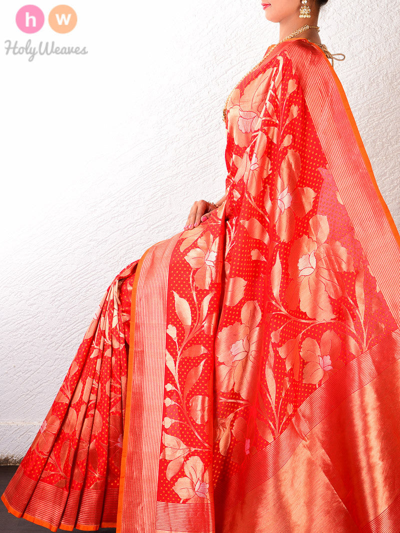 Red Silk Cutwork Tilfi Brocade Handwoven Saree - HolyWeaves