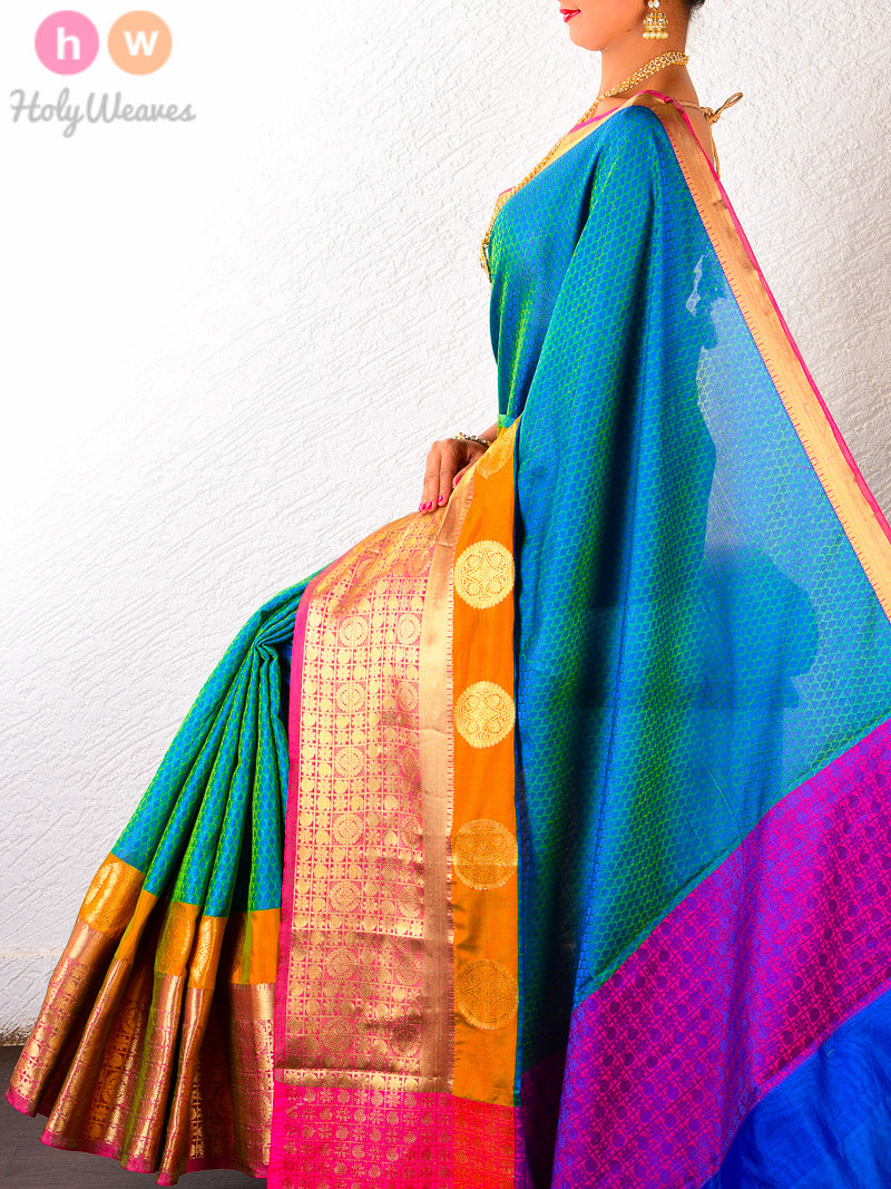 Blue-Green Soft Cotton Silk Tanchoi Brocade Woven Saree with Rich Brocade Border - HolyWeaves