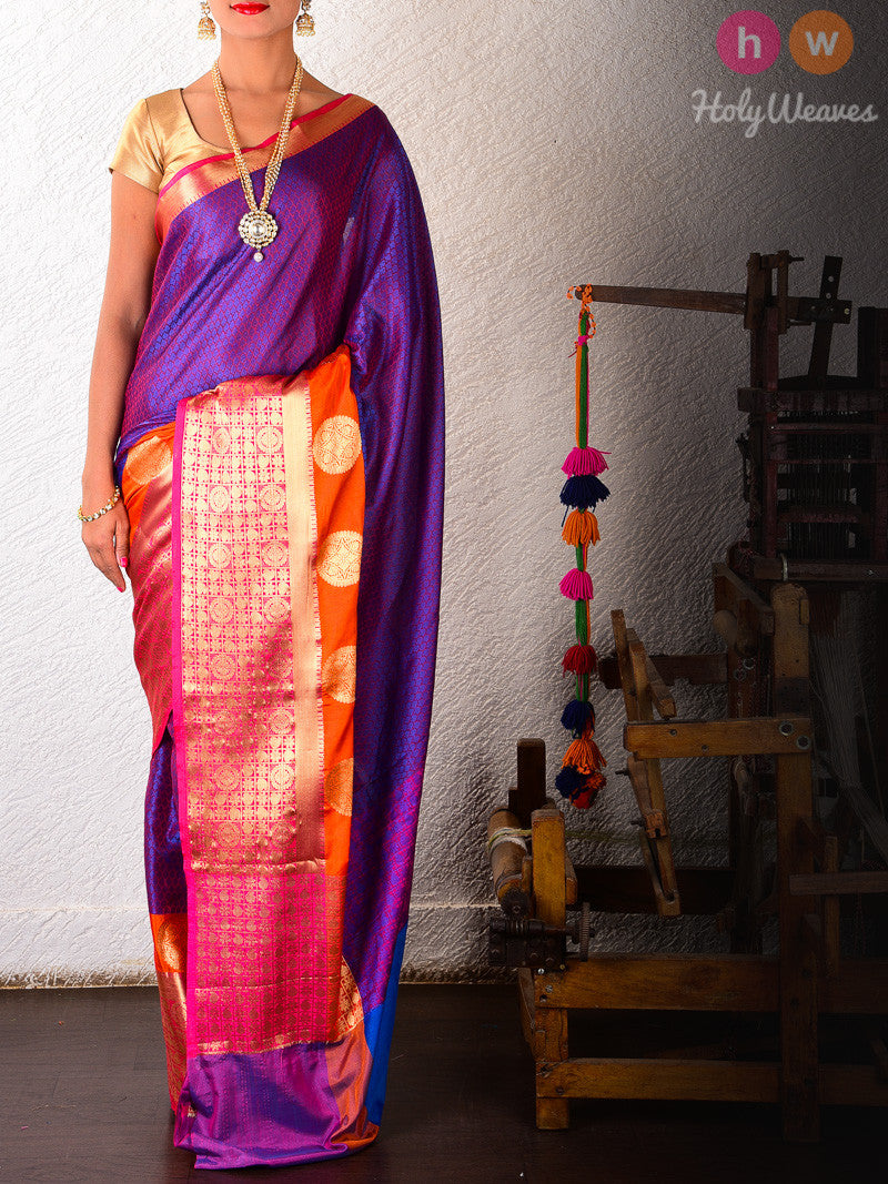 Purple Soft Cotton Silk Tanchoi Brocade Woven Saree with Rich Brocade Border - HolyWeaves