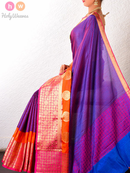 Purple Soft Cotton Silk Tanchoi Brocade Woven Saree with Rich Brocade Border