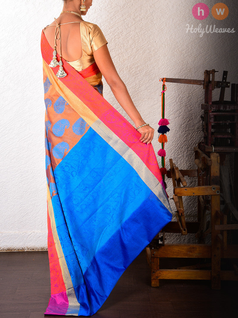 Mustard Cotton Silk Blue Paisley Cutwork Brocade Woven Saree - HolyWeaves