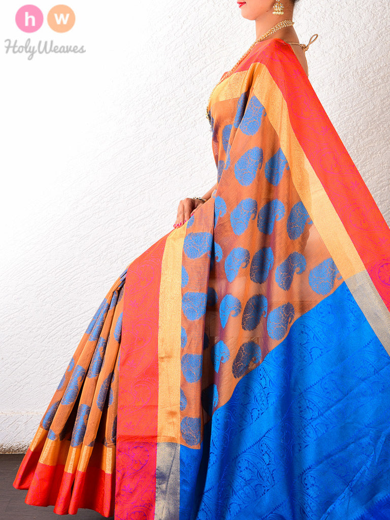Mustard Cotton Silk Blue Paisley Cutwork Brocade Woven Saree