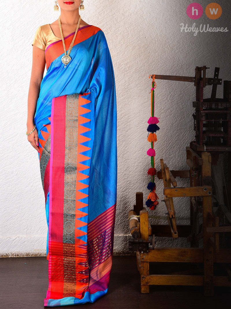 Blue Textured Cotton Silk Brocade Woven Saree with Ganga jamuna borders - HolyWeaves