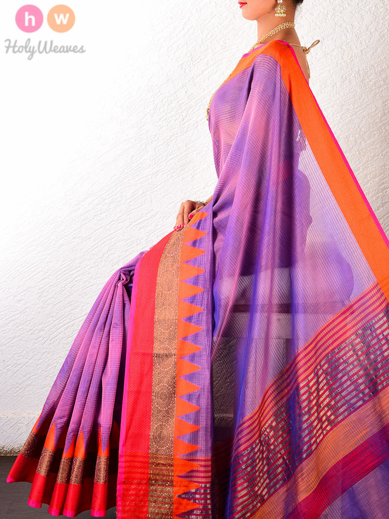 Purple Textured Cotton Silk Brocade Woven Saree with Ganga jamuna borders - HolyWeaves