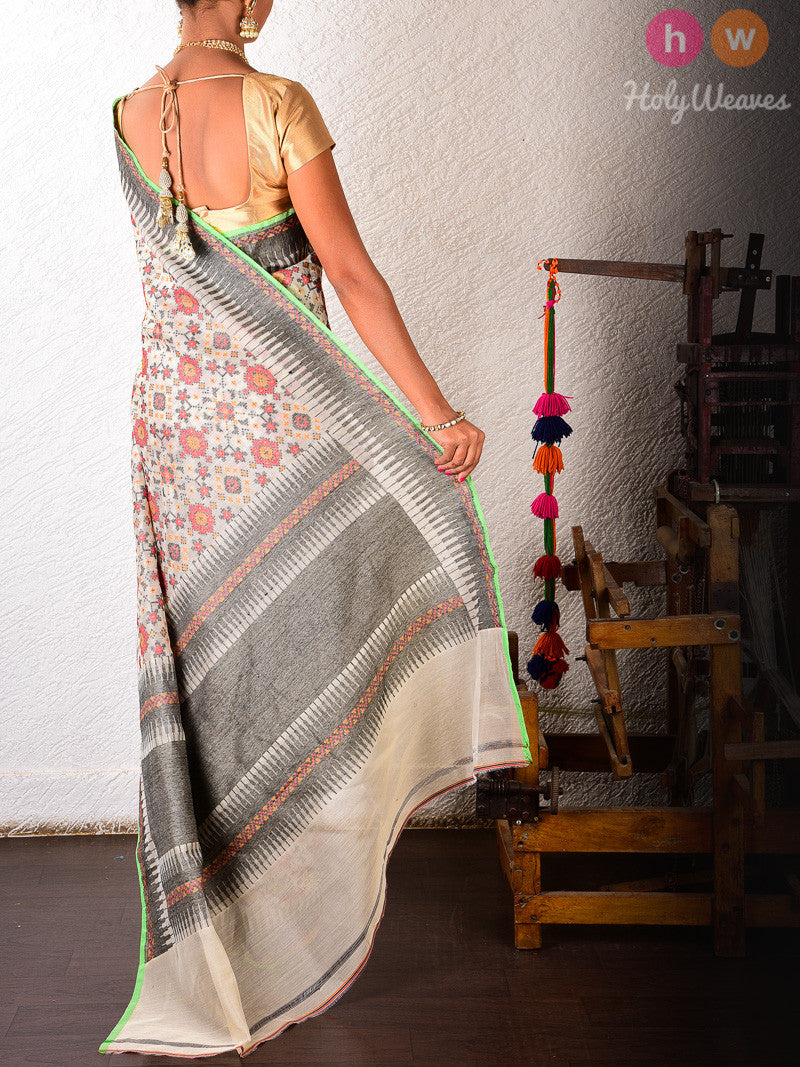 Beige Cotton Silk Geometric Cutwork Brocade Handwoven Saree - HolyWeaves