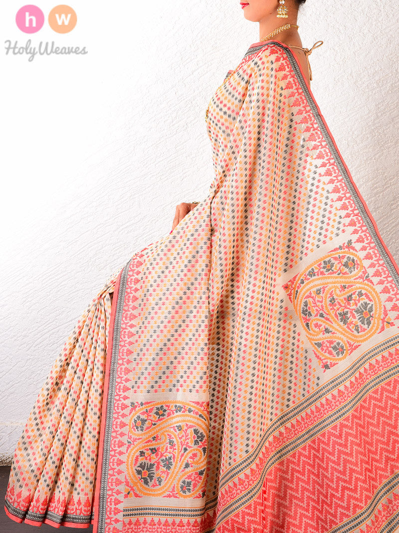 Beige Cotton Silk Cutwork Koniya Paisley Brocade Handwoven Saree - HolyWeaves