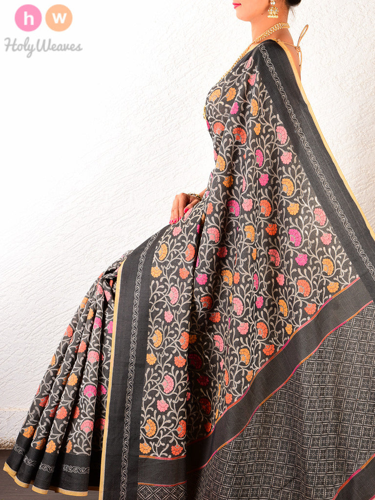 Black Cotton Silk Cutwork Brocade Woven Saree