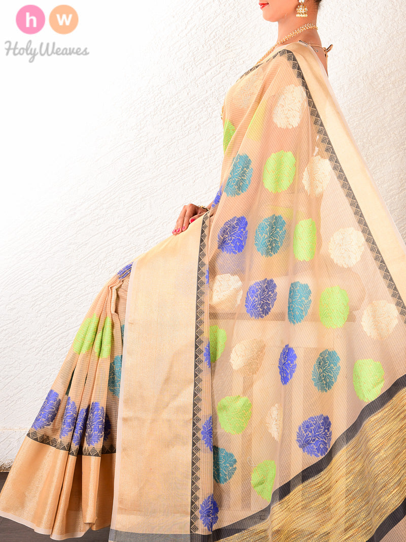 Beige Cotton Silk Cutwork Brocade Woven Saree with Blue-Green-Gold Buta - HolyWeaves