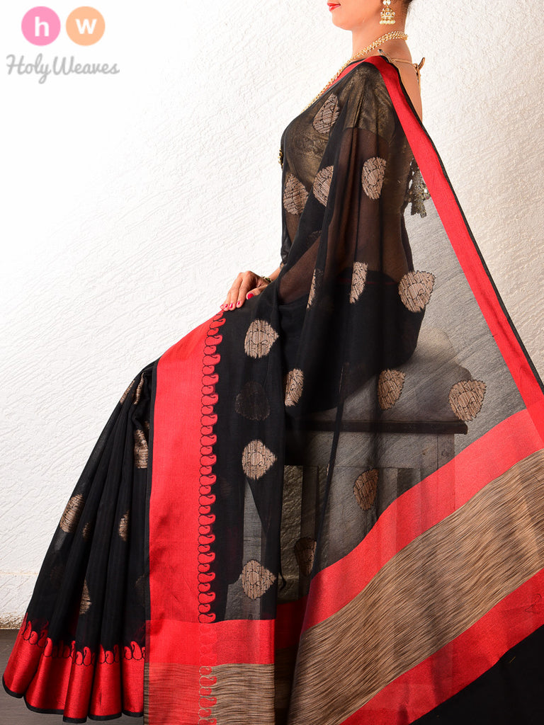 Black Cotton Silk Cutwork Brocade Woven Saree with Red Borders - HolyWeaves