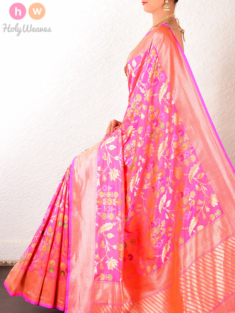 Pink Katan Silk Cutwork Tilfi Brocade Handwoven Saree - HolyWeaves