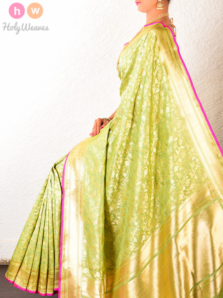 Green Silk Cutwork Shikargah Brocade Handwoven Saree - HolyWeaves