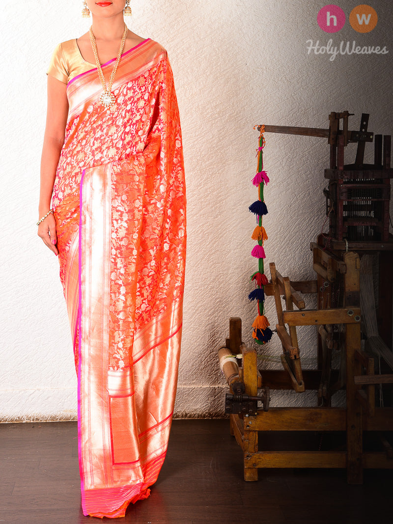 Peach Katan Silk Shikargah (शिकारगाह) Brocade Handwoven Saree - HolyWeaves