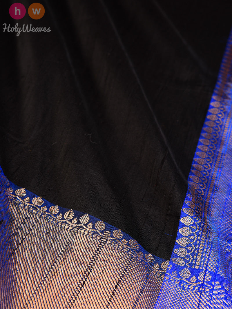 Black Raw Silk Brocade Handwoven Saree - HolyWeaves
