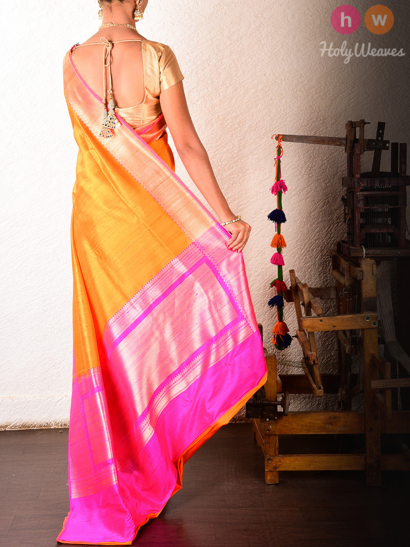 Orange Raw Silk Brocade Handwoven Saree - HolyWeaves