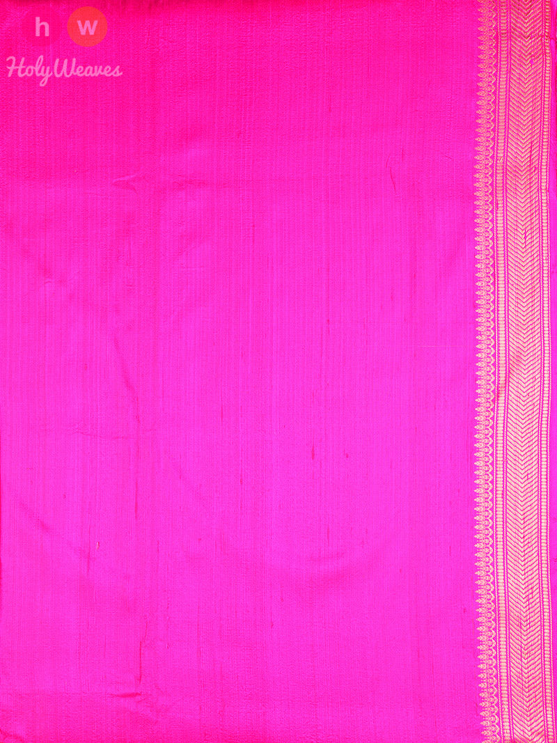 Pink Raw Silk Brocade Handwoven Saree - HolyWeaves