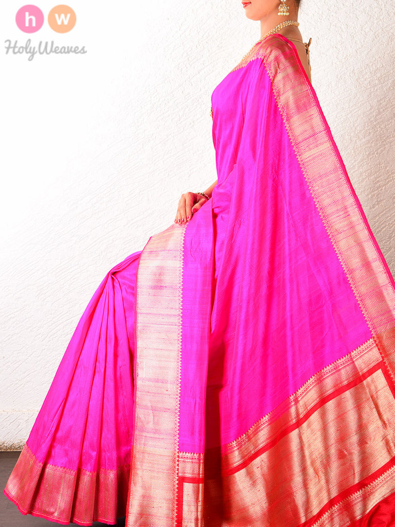 Pink Raw Silk Brocade Handwoven Saree