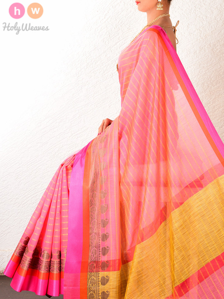 Pink Cotton Silk Cutwork Brocade Woven Saree - HolyWeaves