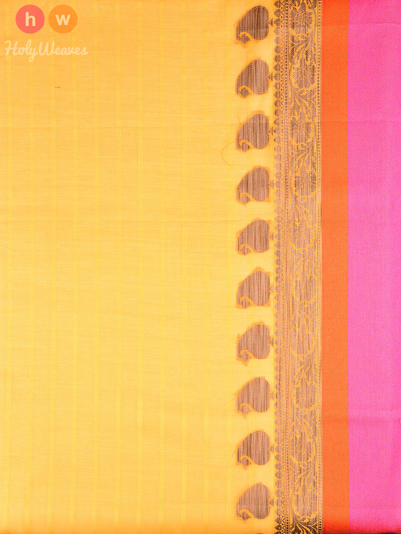Yellow Cotton Silk Cutwork Brocade Woven Saree - HolyWeaves