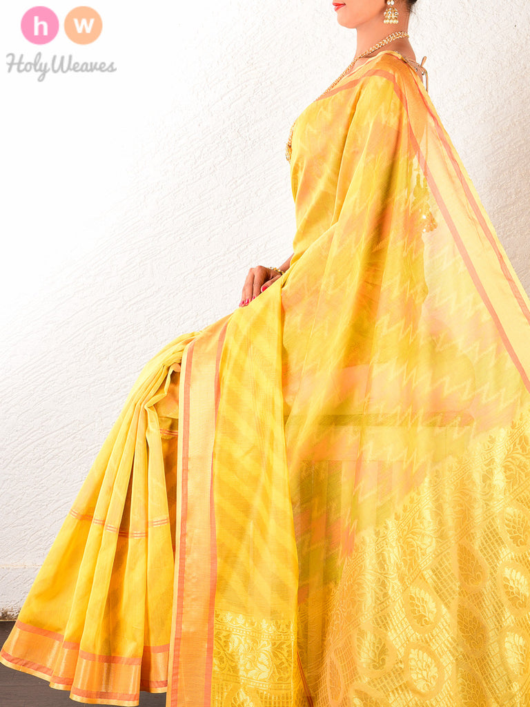 Yellow Cotton Silk Ikat Woven Saree - HolyWeaves
