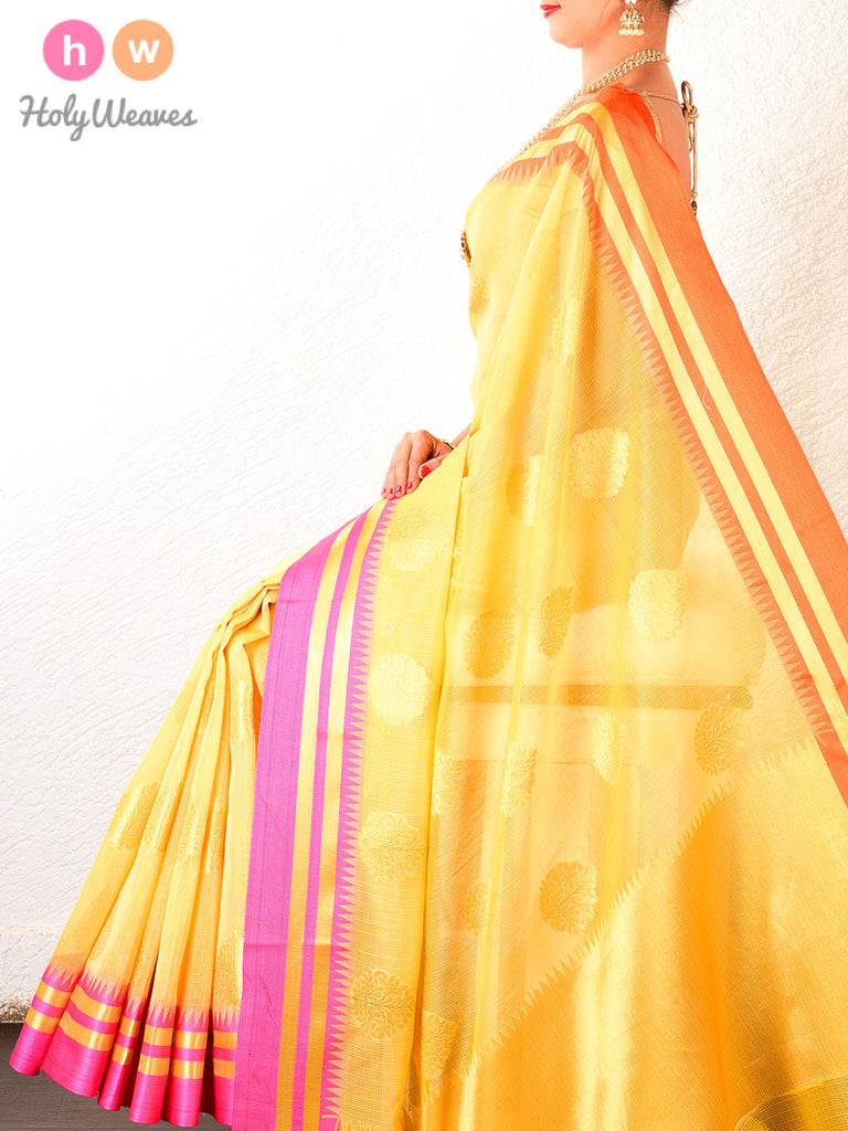 Yellow Cutwork Brocade Woven Art Cotton Silk Saree - HolyWeaves