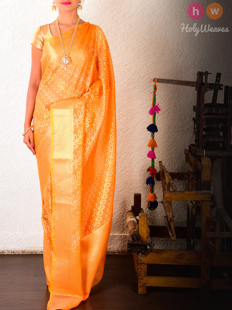 Orange Cotton Silk Cutwork Leheriya Bel Alfi Brocade Woven Saree - HolyWeaves