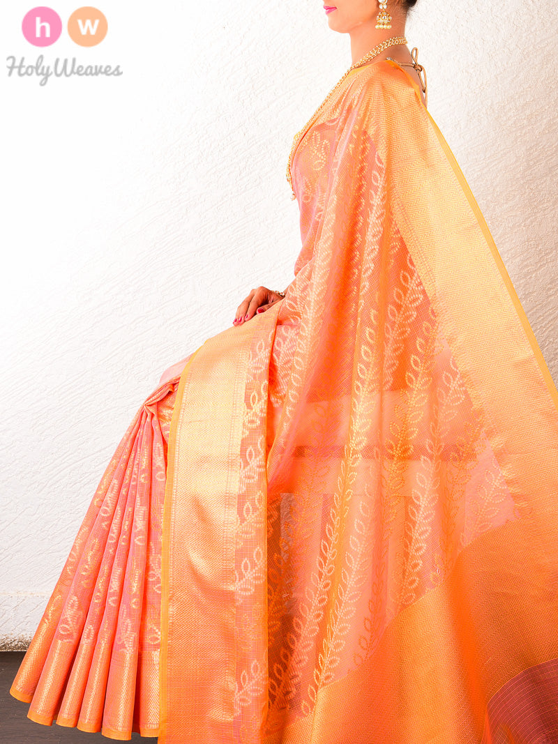 Peach Cotton Silk Cutwork Leheriya Bel Alfi Brocade Woven Saree - HolyWeaves