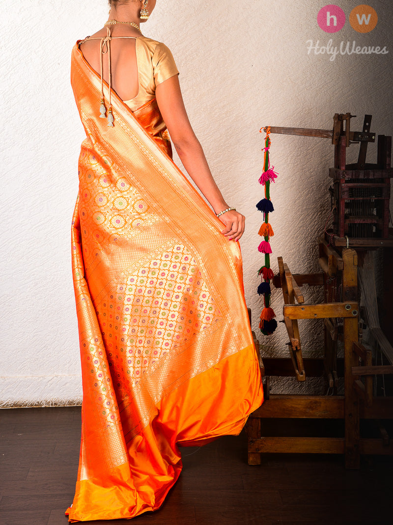 Orange Silk Brocade Handwoven Saree - HolyWeaves