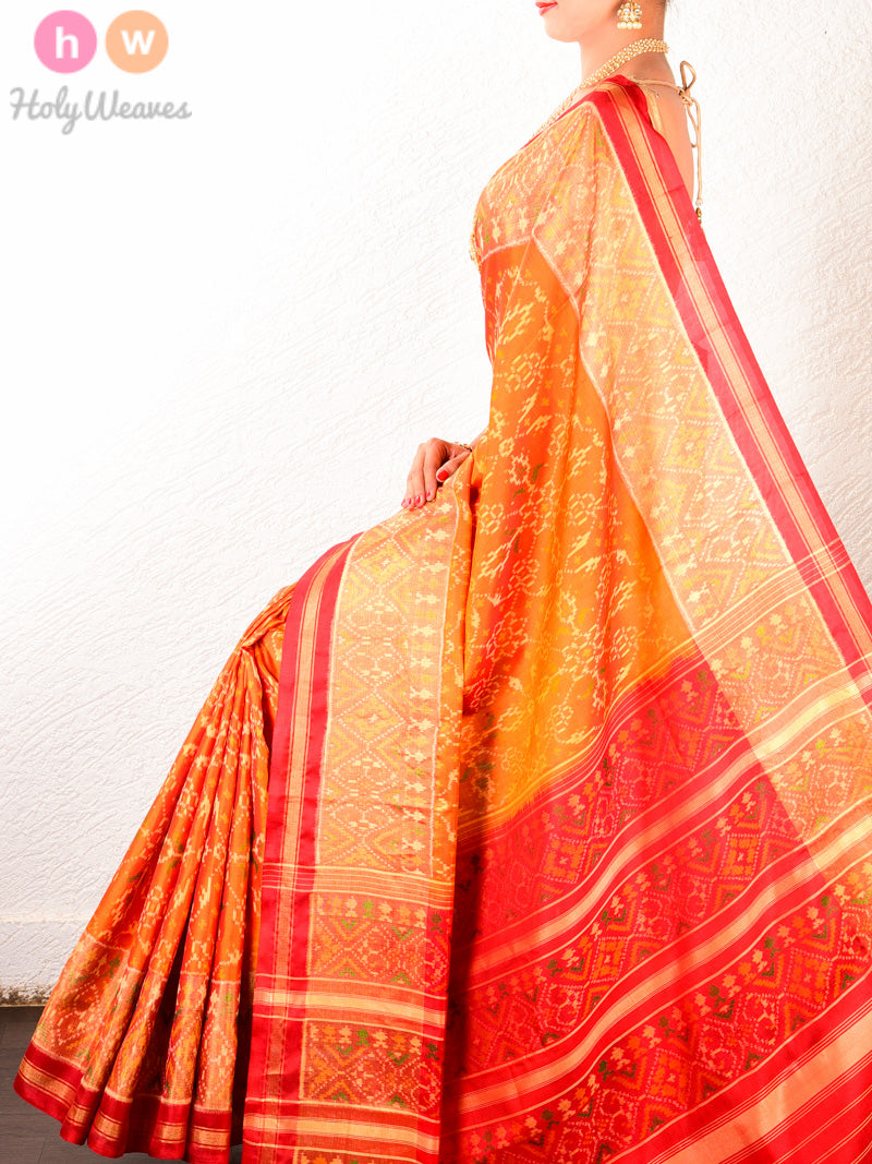 Orange Traditional Patola Ikat Handwoven Silk Saree with Red Contrast Pallu and Blouse - HolyWeaves