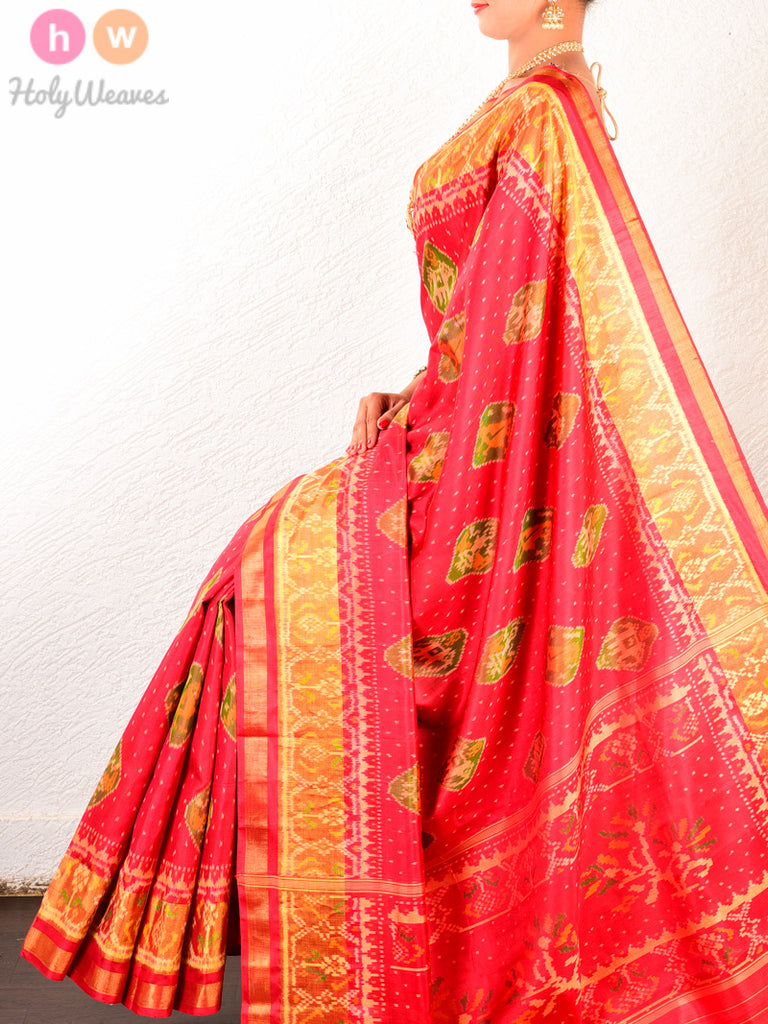 Red Traditional Popat Kunjar Patola Ikat Handwoven Silk Saree - HolyWeaves