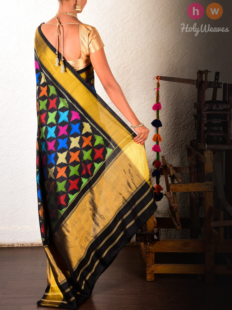 Black Starfish Patola Ikat Handwoven Silk Saree - HolyWeaves