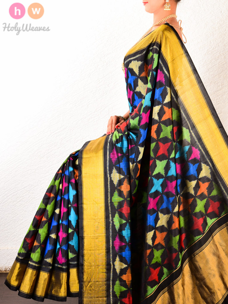 Black Starfish Patola Ikat Handwoven Silk Saree