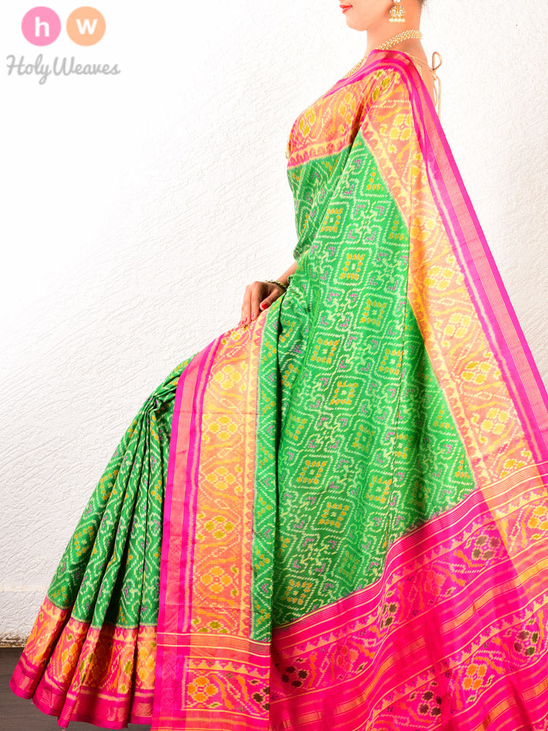 Green-Pink Traditional Paan Patola Ikat Handwoven Silk Saree - HolyWeaves